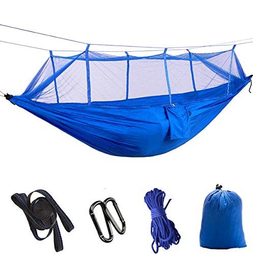 Defeng Camping Hängematte Fallschirmseide Ultraleichte Nylon Reisehängematte 260140CM Aufbewahrungs Moskitonetz Blau