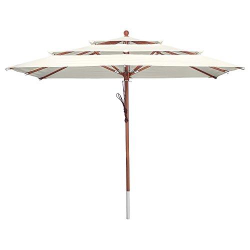 anndora Sonnenschirm 3-Lagig 300 x 300 cm eckig Gartenschirm Natural