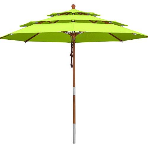 anndora Sonnenschirm 3-lagig 350 cm rund Gartenschirm Apfelgrün - Holzstockschirm
