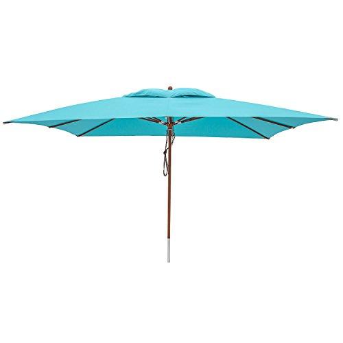 anndora Sonnenschirm Gartenschirm Marktschirm 3 x 4 m eckig - mit Winddach Himmelblau