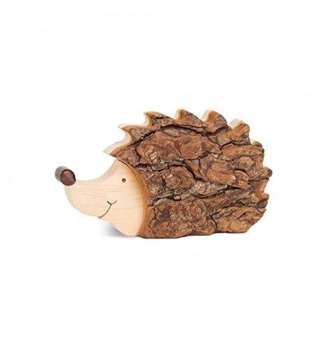 Metallmichl edelrost Igel mit Rinde aus Laubholz mit Rinde Größe M Deko-Figur aus Holz für Tisch-DekorationFensterbank-Dekoration