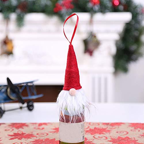 Weihnachten Weinflasche SetWawer Rotweinflasche Cover Taschen Weihnachts Dekoration Xmas Bottle Cap Xmas Party Hochzeit Tisch Dekorationen Rot