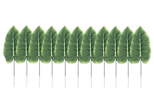 ailinda 10 Künstliche Tropical Palm Blätter Pflanze für DIY Hawaiian Luau Jungle Strand Thema Party Hochzeit Garten Decor Tisch Dekoration plastik grün E