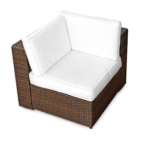 1er Polyrattan Lounge Möbel Eck Sessel braun - Gartenmöbel 1er Polyrattan Lounge Eck Sessel 1er Polyrattan Lounge Eck Sofa 1er Polyrattan Lounge Eck Stuhl - durch andere Polyrattan Lounge Gartenmöbel Elemente erweiterbar