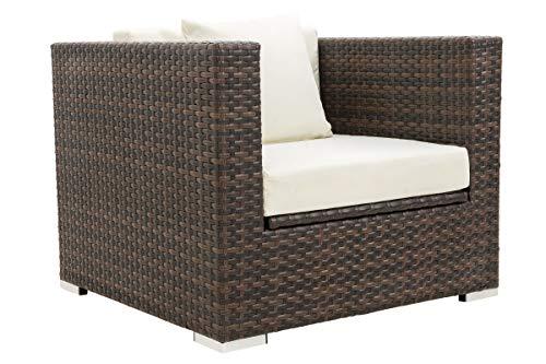 OUTFLEXX 1-Sitzer Lounge Sessel aus hochwertigem Polyrattan in braun marmoriert mit Ideal Kissenboxfunktion inkl Kissen Armlehne Links wetterfest perfekt für den Outdoorbereich geeignet