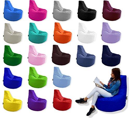 Patchhome Gamer Kissen Lounge Kissen Sitzsack Sessel Sitzkissen In Outdoor geeignet fertig befüllt  Braun - Ø 75cm x Höhe 80cm - in 2 Größen und 25 Farben