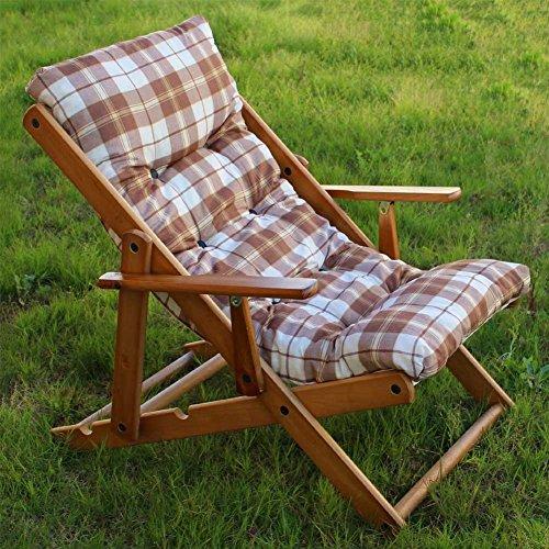 RelaxsesselLiegestuhl aus Holz mit 3 Positionen zusammenklappbar mit gepolsterten Kissen 100 cm für Wohnzimmer Küche als Sofa Sessel Couch braun