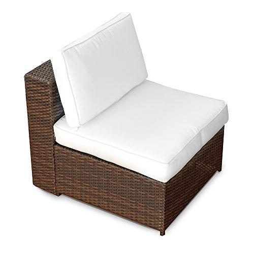XINRO 1er Polyrattan Lounge Sessel - Mittelteil - Gartenmöbel Polyrattan Sessel - durch andere Polyrattan Lounge Gartenmöbel Elemente erweiterbar - InOutdoor - handgeflochten - braun