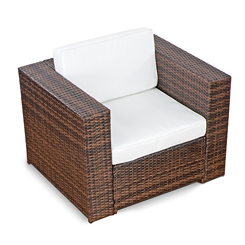 XINRO 1er Premium Lounge Sessel - Lounge Sofa Gartenmöbel günstig Loungesofa Polyrattan XXL Rattan Sessel - InOutdoor - handgeflochten - mit Kissen - braun