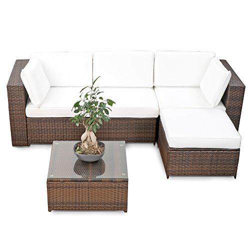 XINRO erweiterbares 15tlg Balkon Polyrattan Lounge Ecke - braun - Sitzgruppe Garnitur Gartenmöbel Lounge Möbel Set aus Polyrattan - inkl Lounge Sessel  Ecke  Hocker  Tisch  Kissen