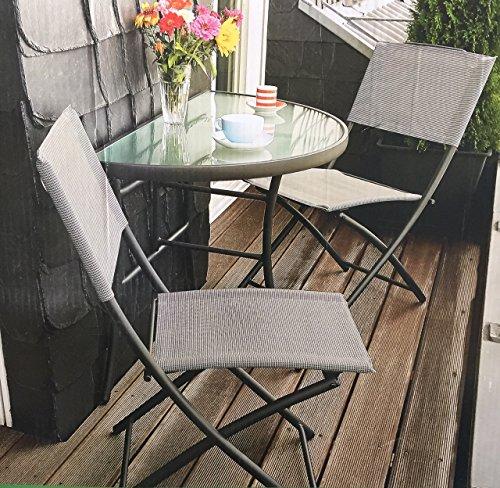 Balkongruppe Annette Klapptisch  2 Klappstühle Balkon Tisch Stuhl Grau meliert Pulverbeschichtet Textilbezug