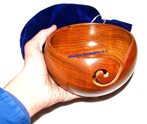 Holz Garn Schüssel New Design Tragbarer Strickgarn Schüssel Haken Halter bhartiya Kunsthandwerk 6 x 6 x 3 Inch rosewood