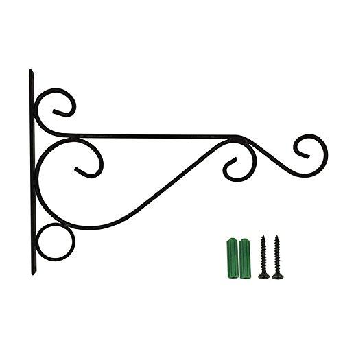 Yunhigh Garten hängende Korbklammern Eisen außen Metall Wandhalter Halter Haken für Blumentöpfe Laterne Pflanze Aufhänger Innendekoration - schwarz
