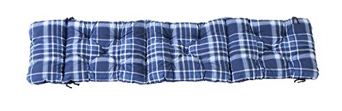 Ambientehome Deckchair Auflage für Liege kariert blau ca 195 x 49 x 8 cm Polsterauflage Kissen