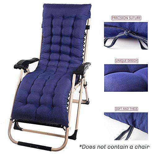 Interlink-UK Auflage für Gartenliege Sonnenliege Liegestuhl Auflage Deckchair Auflage Kissen Liegenauflage Baumwolle 153x53x7cm Blau