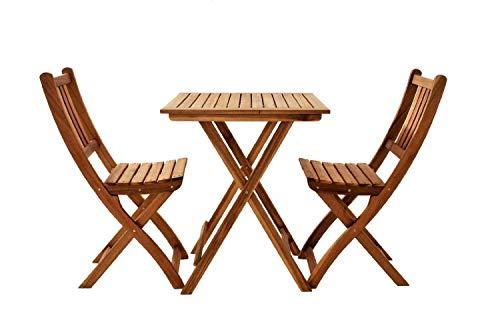 SAM 3-TLG Balkongruppe Blossom Akazienholz geölt Sitzgruppe mit 1 Tisch 60x60cm  2 Stühle klappbar FSC Zertifiziert