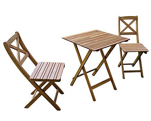 SAM 3-TLG Gartengruppe Xenia Akazienholz geölt 1x Tisch 60x60 cm  2X Stühle klappbar Natur