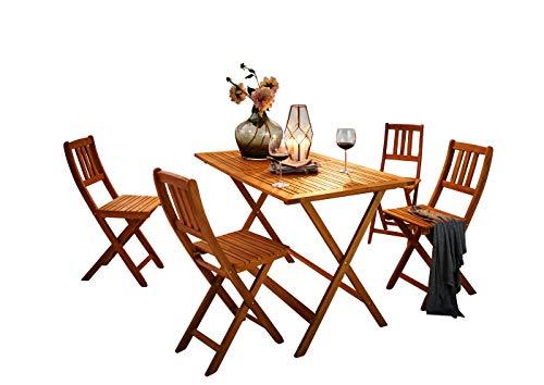 SAM 5-TLG Gartengruppe Costas Tischgruppe aus Akazienholz 1 Tisch  4 Stühle FSC Zertifiziert