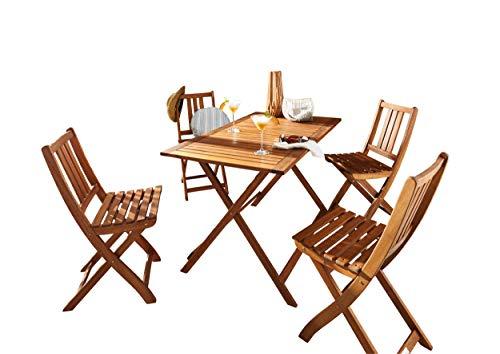 SAM Gartengruppe 5tlg Holstebro 1 x Tisch  4 x Stuhl massives Akazienholz klappbar FSC 100 Zertifiziert