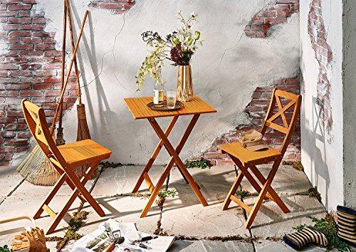 SAM Gartengruppe natur 3tlg Balkongruppe aus Akazienholz 1x Tisch  2x Stuhl Garten-Tischgruppe Sitzgruppe