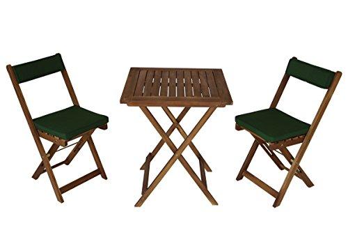 gartenmoebel-einkauf Balkonset Kreta aus Akazienholz 3-teilig mit Auflage grün Tisch 60x60