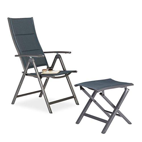 2 tlg Gartenstuhl und Hocker Set gepolstert Klappstuhl Faltstuhl Camping-Stuhl Klapphocker Falthocker grau