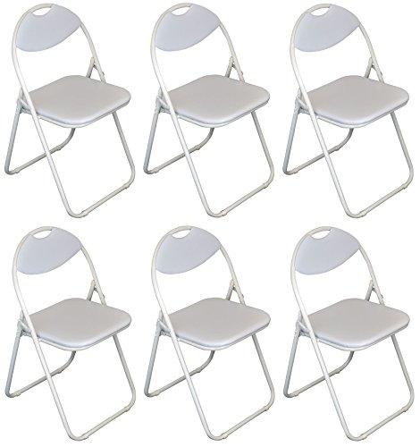 Klappstuhl - gepolstert - komplett weiß - 6 Stück