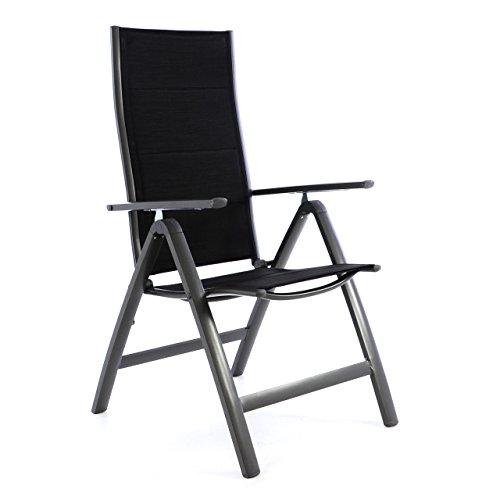 Nexos ZGC34481 Deluxe Klappstuhl gepolstert – Textilene schwarzRahmen dunkelgrau-Gartenstuhl Liegestuhl – klappbarer Stuhl aus Aluminium Kunststoff