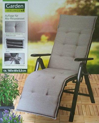 Garden Feelings Auflage für Alu Relaxsessel Stuhl Sessel Grau