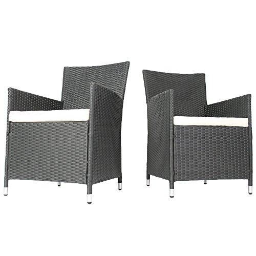 MIADOMODO Rattansessel mit Armlehne Stuhl Sessel Garten Stuhl Rattan Outdoor im Set 2 Stück mit Sitzkissen in Grau
