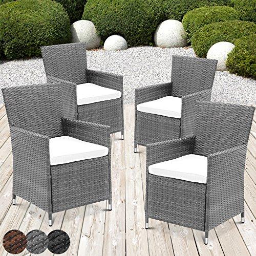MIADOMODO Rattansessel mit Armlehne Stuhl Sessel Garten Stuhl Rattan Outdoor im Set 4 Stück mit Sitzkissen in verschiedenen Farben Grau
