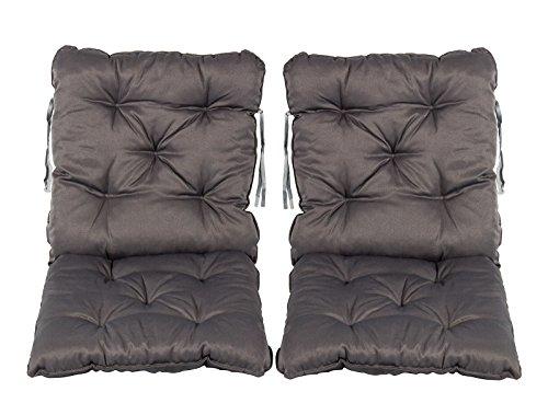 Meerweh 2er Set Rückenkissen Sessel ca 50 x 98 x 8 cm Polsterauflage Sitzkissen Grau 50 x 98 x 10 cm