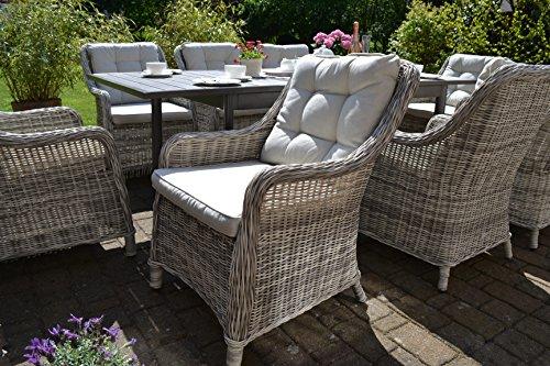 bomey Rattan-Sessel Set mit Polstern I Gartenmöbel Set Como 6-Teilig I Sechs Gartensessel Grau  Polster Beige I Lounge Sessel für Garten  Terrasse  Wintergarten