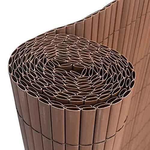 HENGMEI 300x180cm PVC Sichtschutzmatte Sichtschutzzaun Braun - Zaun Sichtschutz Windschutz Blickdicht fur Garten Balkon und Terrasse 300x180cm Braun