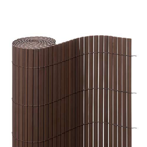 Ventanara Sichtschutzmatte PVC Sichtschutzzaun Sichtschutz Windschutz für Garten Balkon Terrasse 160 x 500 cm Braun