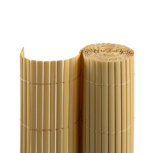 Jarolift PVC SichtschutzmatteSichtschutzzaun für Garten Balkon und Terrasse 80 x 300 cm bambus