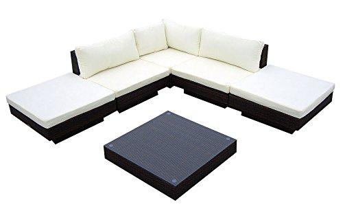 Baidani Gartenmöbel-Sets 10c0000200001 Designer Rattan Lounge Sunqueen 1 Sofa 1 Beistelltisch mit Glasplatte schwarz