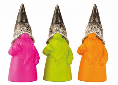 Designer Gartenzwerge Set 3tlg Zwerge lustige Gartenfiguren für Außen Gartenzwerg Modern Pink Grün und Orange Gnom 3er Set 18 cm