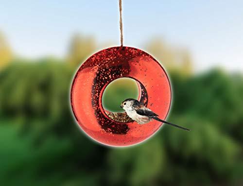 Orailys Hochwertiges Designer Vogelhaus aus rotem Glas für Garten und Balkon zum Aufhängen