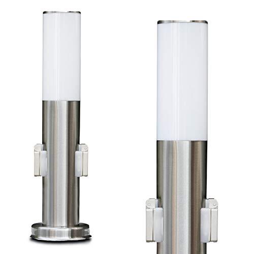 Sockelleuchte Caserta - Pollerleuchte mit Steckdose - Wegeleuchte Edelstahl für Ihren Garten - Designer Lampe zylinderförmig als glänzendem Edelstahl und weißem Kunststoff