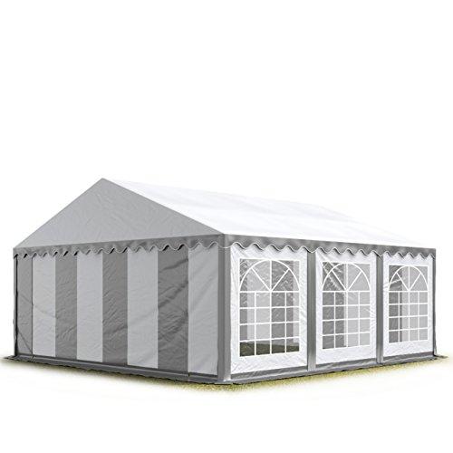 TOOLPORT Party-Zelt Festzelt 3x6 m Garten-Pavillon -Zelt 500gm² PVC Plane in grau-weiß Wasserdicht