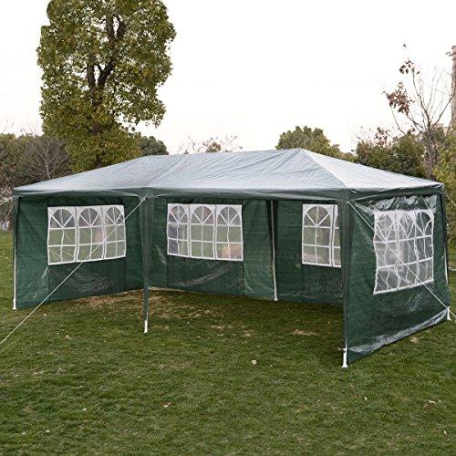 COSTWAY Gartenpavillon Partyzelt Bierzelt Pavillon Gartenzelt Hochzeit Festzelt Zelt 3 x 6 m Farbwahl Grün