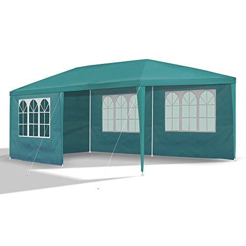 JOM Gartenpavillon 3 x 6 m mit 6 Seitenwänden 110G PE petrol grün