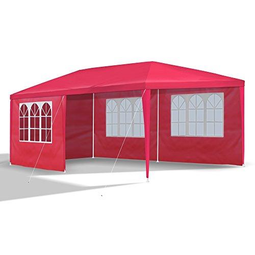 JOM Gartenpavillon 3 x 6 m mit 6 Seitenwänden 110G PE rot