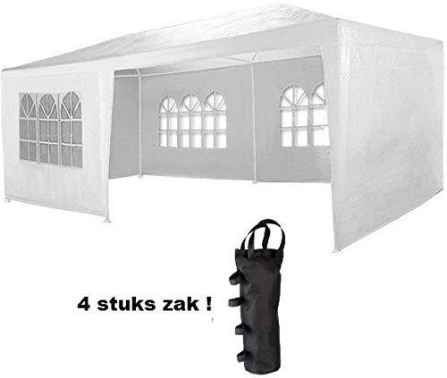 MAXX 6 x 3 m Gartenzelt Pavillon Bierzelt Partyzelt Festpavillon inklusive 4 Seitenwände 4 x Fenster Wasserdicht PE Plane in Weiß 6 x 3 m mit 4 Seitenwände Weiß  4 x Pavillon Bein Gewichte