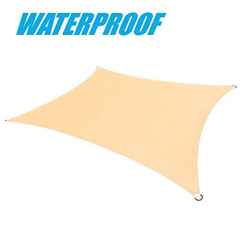 ColourTree Sonnensegel rechteckig wasserfest 220 gm² 100 Blockage strapazierfähig 200 x 37 m Beige