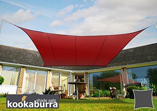 Kookaburra Wasserfest Sonnensegel 36m Quadrat Weinrot