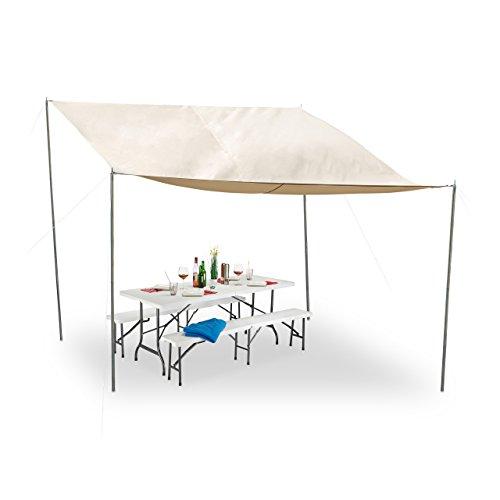 Relaxdays Sonnensegel rechteckig steckbare Stangen Seile Erdspieße wasserfest UV-beständig Polyester 3x4m beige