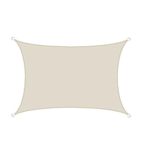 AMANKA UPF50 Großes Sonnensegel 4x3m Polyester Rechteck Wasserabweisend UV-Schutz Garten-Segel Terrasse Balkon Beige