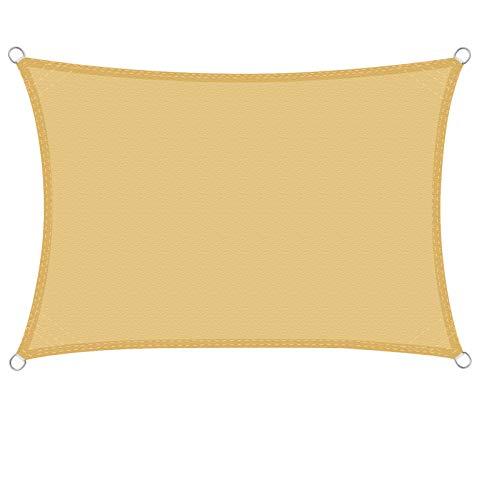WOLTU Sonnensegel Rechteck 2x3m Sand wasserabweisend Sonnenschutz Polyester Windschutz mit UV Schutz für Garten Terrasse Camping